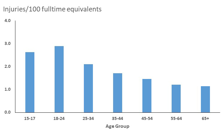 This graph shows rates for work-related nonfatal injuries  and illnesses treated in emergency departments by age group in the United  States for 2007.  The highest rate is  seen for workers 18 to 24 years of age, with a rate of 4.5 injuries and  illnesses per 100 fulltime equivalents.   The next highest rate is seen for workers 15 to 17 years of age, with a rate of 4.2 injuries and illnesses per 100 fulltime equivalents. Rates decline for older age groups  from a rate of 2.5 injuries and illnesses per 100 fulltime equivalents for  workers 25 to 44 years of age to a rate of 1.5 for workers 65 years and older.