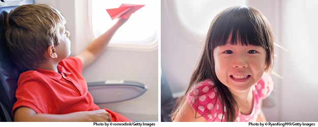 photos by romrodink/Getty Images and RyanKing999/Getty Images. International Travel: boy and girl seated on plan sharing exciting.