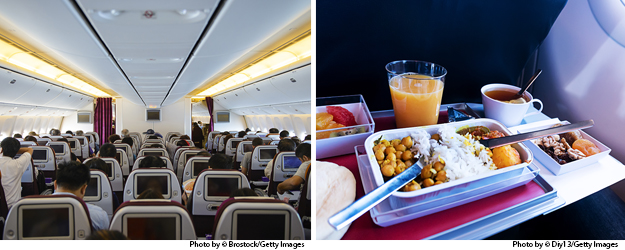 Photo by Diy13/Getty Images. International travel: View of seats and aisles from the back of the plane and tray of healthy plane food.