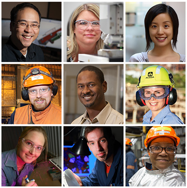 a grid of worker photos