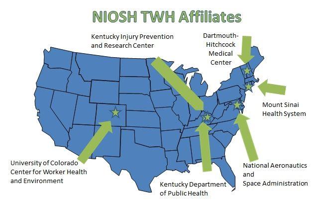 map of NIOH Affiliates