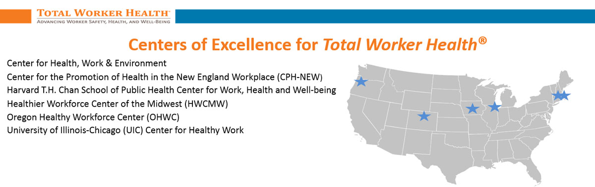 Banner promoting Centers of Excellence for Total Worker Health