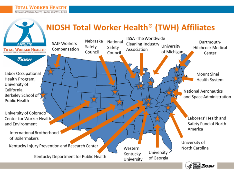 map of Centers of Excellence and TWH Affiliates