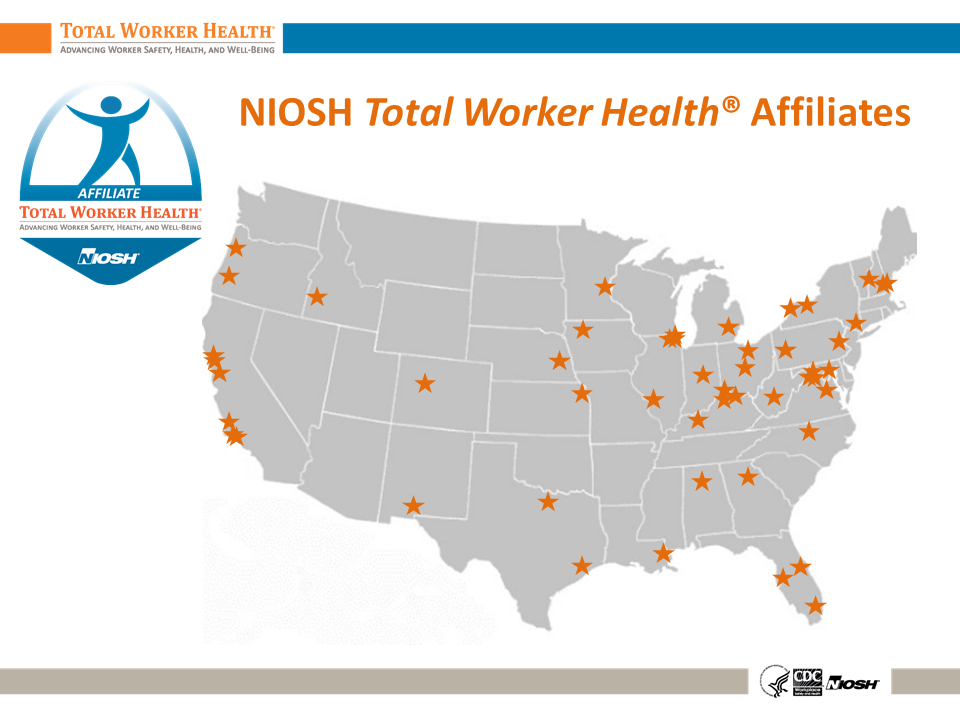 Map of U.S. showing Total Worker Health Affiliates