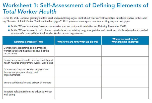 With your planning commitee, use the assessment to determine where your organization currently has strengths and room to improve when it comes to worker safety, health, and well-being.