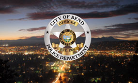 The city of Bend, Oregon seen at night.