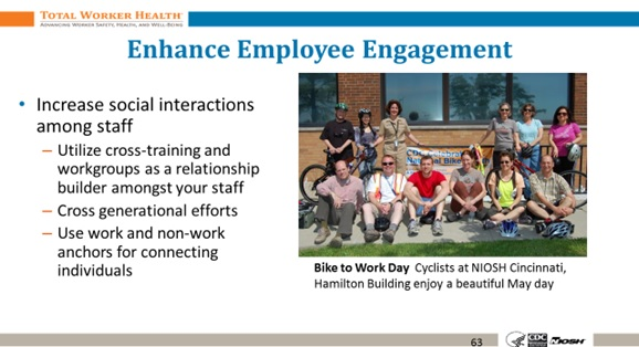 Slide from the Healthier Supervision training focusing on enhancing employee engagement through social interactions among workers.