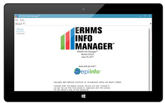 ERHMS Info Manager is a free software platform developed by NIOSH to track and monitor emergency response and recovery worker activities before, during, and after their deployment to an incident site.