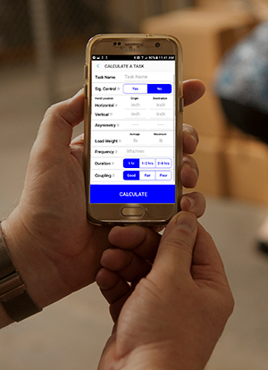 The NLE Calc app being used on a smartphone