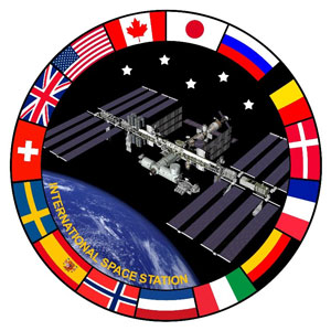 Image of International space station surrounded by country flags