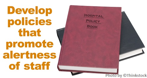 Develop policies that promote alertness of staff, Books