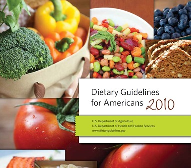 collage of broccoli, blueberries, beans, tomatoes and whole grain bread on the front cover of the 2010 USDA Dietary Guidelines for Americans