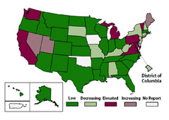Activity of enterovirus-D68-like infections in reporting states is described as: decreased in Alabama, low and similar for Alaska, low and similar for Arkansas, low and similar for Arizona, elevated for California, decreased for Colorado, decreased for Connecticut, decreased for District of Columbia, low and similar for Florida, decreased for Georgia, low and similar in Hawaii, decreased in Idaho, elevated for Illinois, low and similar for Indiana, low and similar for Kansas, decreased for Kentucky, low and similar for Louisiana, elevated for Maine, elevated for Massachusetts, decreased for Michigan, decreased for Minnesota, low and similar for Missouri, low and similar for Mississippi, low and similar for Nebraska, decreased for New Jersey, elevated for New Hampshire, low and similar for New Mexico, decreased for New York, low and similar for North Carolina, elevated for North Dakota, low and similar for Ohio, low and similar for Oregon, increased for Pennsylvania, low and similar for Rhode Island, increased for South Carolina, low and similar for South Dakota, low and similar for Tennessee, low and similar for Texas, elevated for Utah, increased for Virginia, low and similar for Vermont, elevated for Washington, increased for West Virginia, and decreased for Wisconsin.
