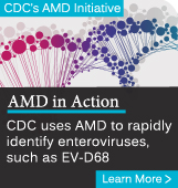 CDC's AMD Initiative. AMD in Action. CDC uses AMD to rapidly identify enteroviruses, such as EV-D68. Learn more.
