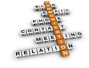 Communication by blog, email, phone, contact, meeting, and relation.