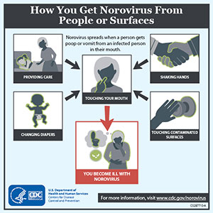 Image shows how you get norovirus from people or surfaces by touching your mouth after providing care to an infected person, shaking hands with an infected person, changing diapers, or touching contaminated surfaces. Then you become ill with norovirus.