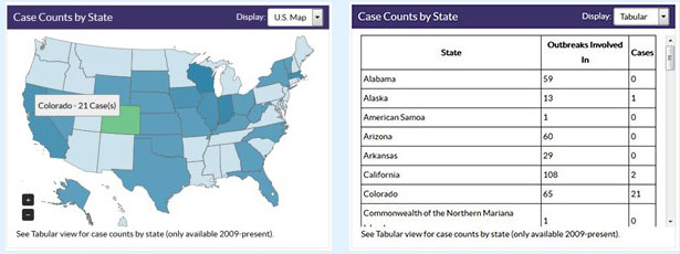 Case counts by state.