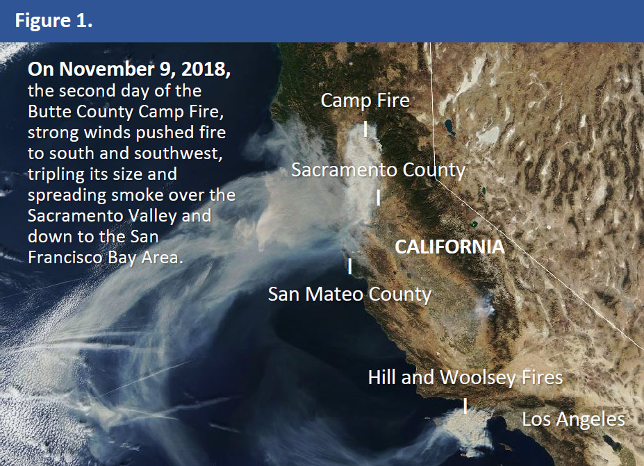 On November 9, 2018, the second day of the Butte County Camp Fire, strong winds pushed fire to south and southwest, tripling its size and spreading smoke over the Sacramento Valley and down to the San Francisco Bay Area.
