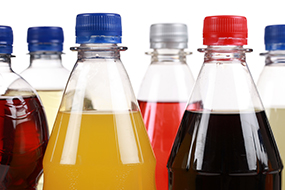 Bottles of sugar sweetened beverages