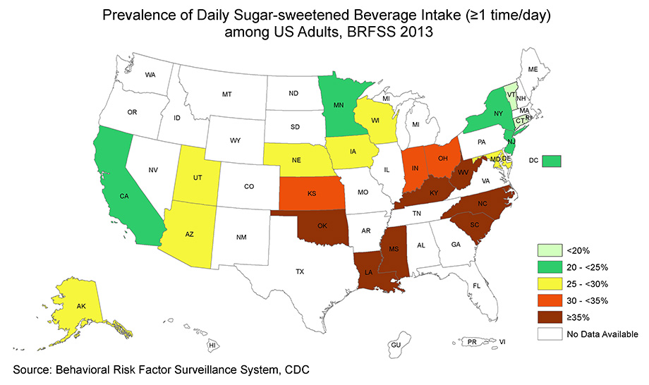 Map Showing Prevalence Of Daily Ssb Intake By State