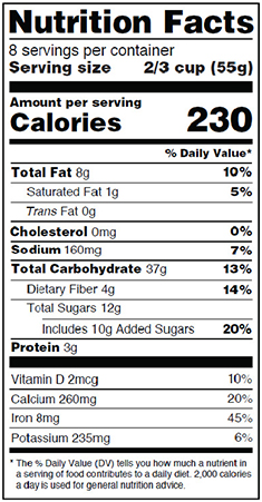 Sample of two column Nutrition Facts label showing information per serving, and per container.