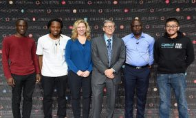 CDC's Maria Jefferds and CDC Foundation Fellow Karim Bougma pictured with Bill Gates and other presenters at the 2018 Gates Foundation Goalkeepers meeting. Photo: Gates Foundation Archive/Michael Hanson