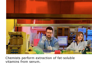 Chemists perform extraction of fat-soluble vitamins from serum.