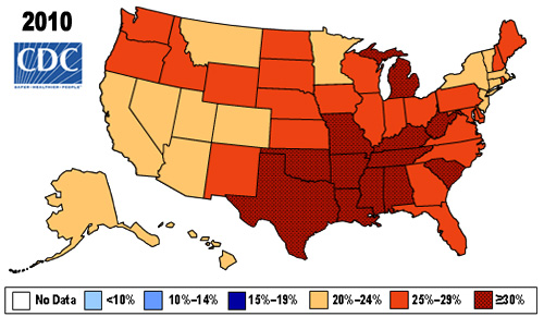 Obesity map. For data, see http://www.cdc.gov/obesity/data/adult.html