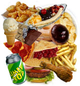 collage of junk food