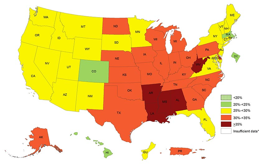 Adult Obesity Prevalence Maps Overweight Obesity CDC - Us map with states listed