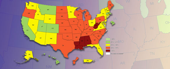 Overweight Obesity CDC - Us obesity map 2015