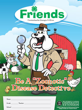 Cartoon image of a dog, chicken, cow, pig, and sheep on the cover of the Friends magazine