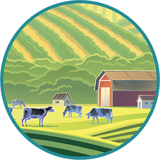 Vector image of cows on a farm.