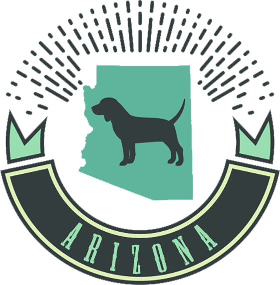 Vector image of dog with Arizona banner