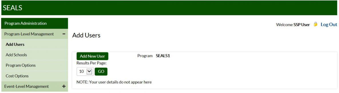 Screenshot of Add Users task for SEALS Program Administration