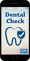 mobile phone showing DentalCheck logo
