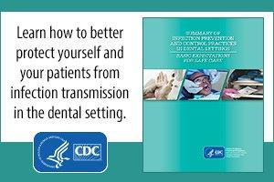 CDC Badge - Learn how to better protect yourselves from Infection transmission in the dental setting