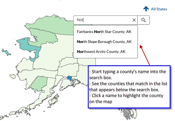 Screenshot shows steps to how to find counties in the application. Start typing a county's name into the search box. See the counties that match in the list that appears below the search box. Click a name to highlight the county on the map.