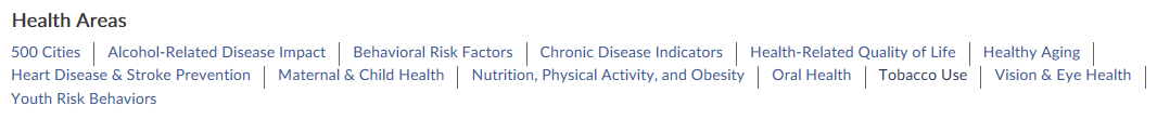 Access chronic disease data in these public health areas
