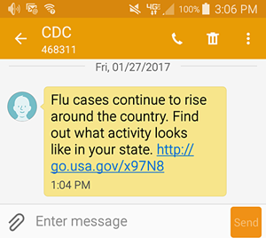 Sample of the Flu Text Message