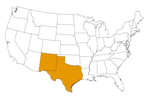 Map showing the estimated U.S. distribution of Triatoma gerstaeckeri. The states highlighted are NM, TX.
