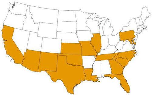 Map showing the estimated U.S. distribution of Triatoma lecticularia. The states highlighted are CA, AZ, NM, TX, OK, KS, MO, IL, LA, FL, GA, SC, NC, TN, MD, and PA.