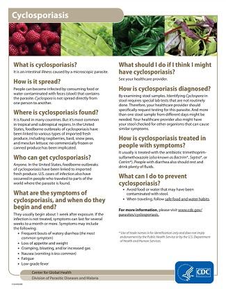 CDC - Cyclosporiasis - Printable Resources