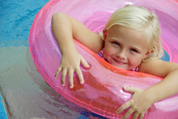 girl in inner tube