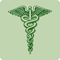 A green icon of the caduceus.