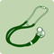 A green icon of a stethoscope.