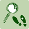 A green icon with a magnifying glass and foot print.
