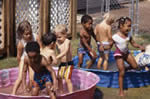 Kids in wading pools