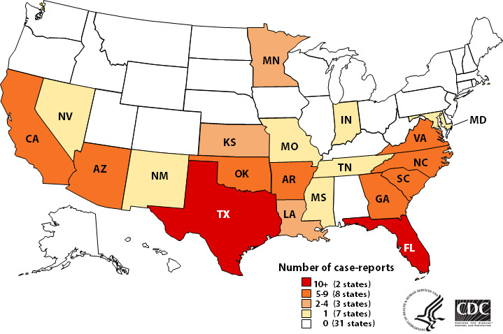 Map of states where Naegleria has occurred.