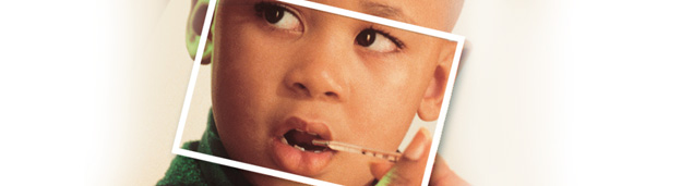 Graphic of child with a thermometer in his mouth.